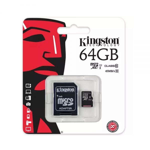 Kingston Micro-SD 64GB Memory Card with Adapter